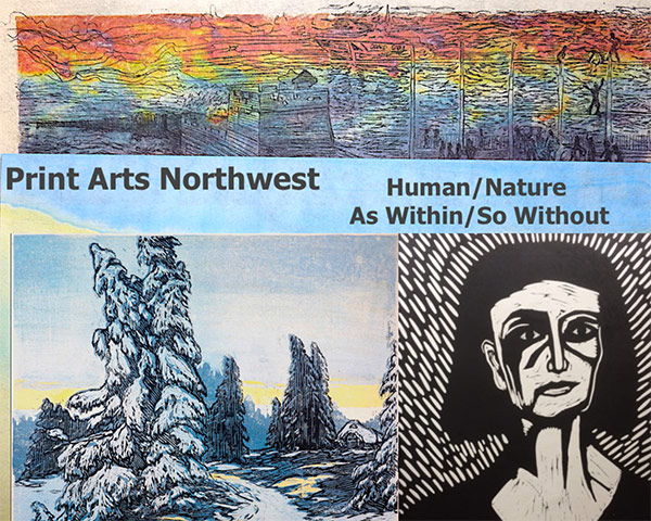 Print Arts Northwest - Human/Nature, As Within/So Without show card