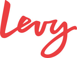 Levy logo - wordmark in red