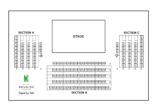 Brunish Theatre seating map - standard set - 146 total seats