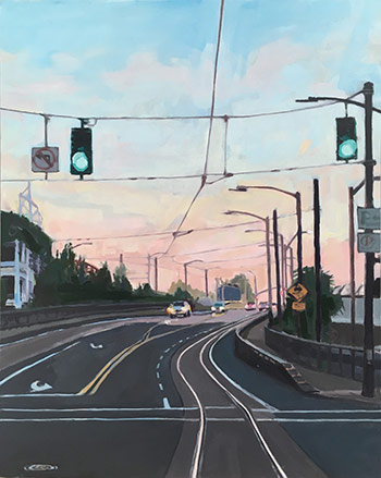 "Shawn Demarest, Broadway Bridge Approach, oil on panel, 20""x16"""