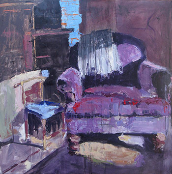 "Bill Sharp, Velvet Chair, oil on panel 36""x36"""