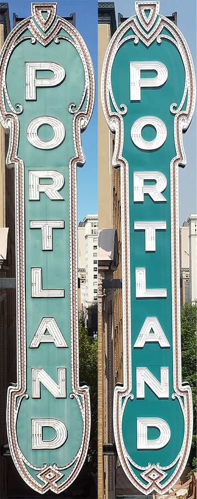 Photo of the Portland sign before and after renovations