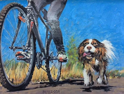 Rolling and Running by D. Anderson - 22x16 original size - Painting of dog running next to human riding a bike