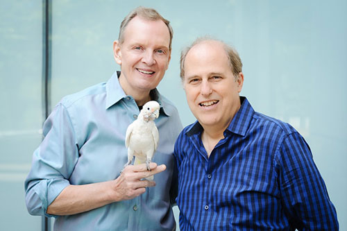 Paul King, Walter Jaffe and Barney, the White Bird. Photo by Jennifer Alyse.