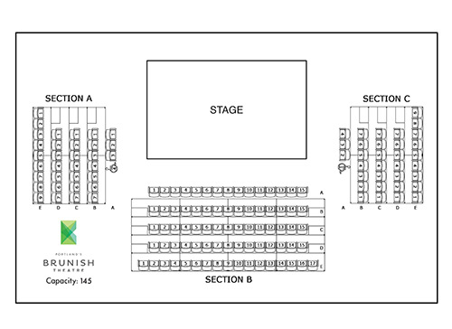 Brunish Theatre seating map - standard set - 145 total seats