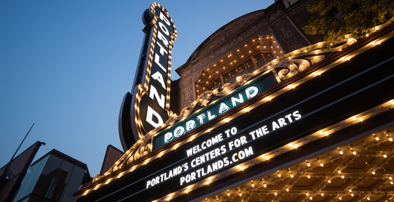 Photo of Arlene Schnitzer Concert Hall marquee at dusk