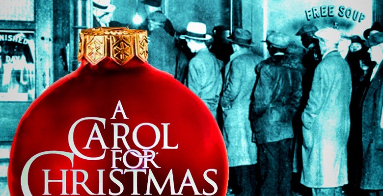 A Carols for Christmas art image of christmas ornament with old photo of soup line