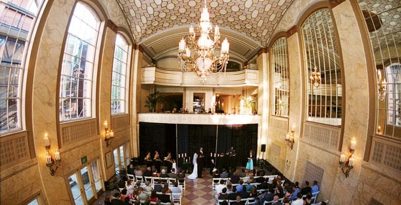 Wedding ceremony in Arlene Schnitzer Concert Hall grand lobby. Photo by David Barss