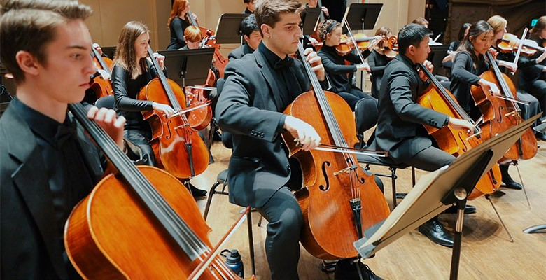 Metropolitan Youth Symphony (photo of cello players) presents MYS SEASON FINALE CONCERT | Saturday, May 29, 2021, 7:00pm | Virtual Online Event