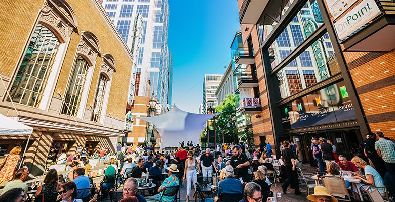 Main Street: Music on Main concert crowd and stage. Photo credit: Jason Quigley