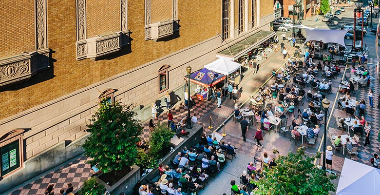Main Street: View from above; Music on Main audience. Photo credit: Jason Quigley