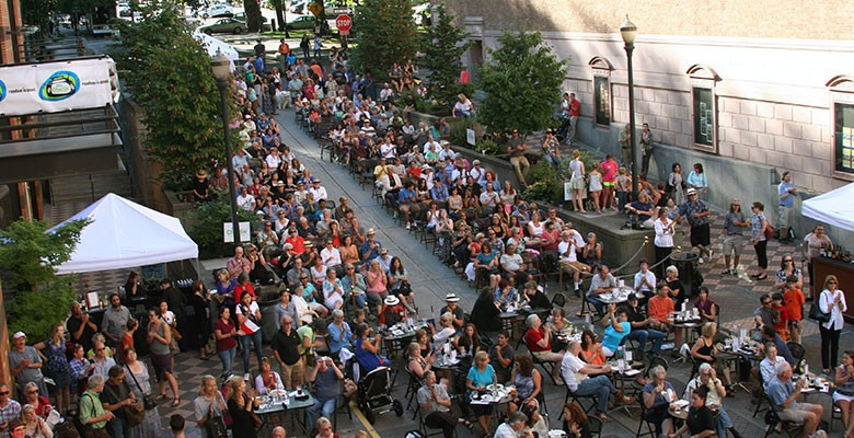 Main Street: Music on Main audience. View looking toward Park Ave.