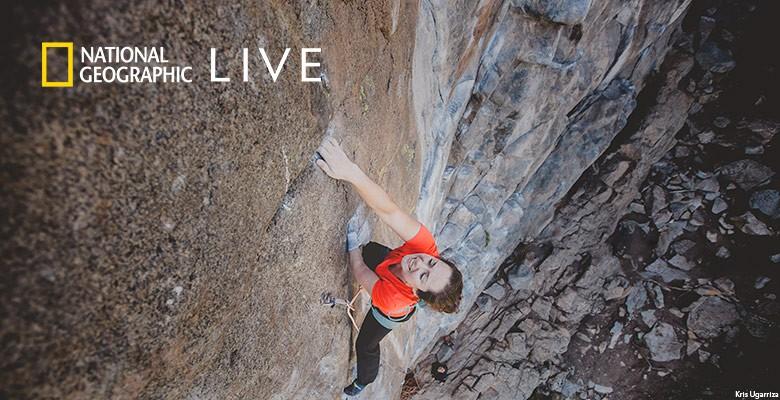 Photo of Maureen Beck climbing rock face