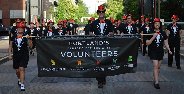 Portland'5 Volunteers practice marching for the Starlight Parade (2016)