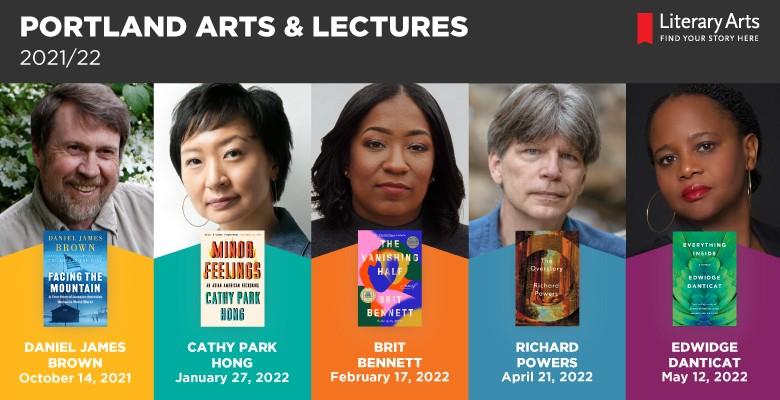 Speaker photos collage. Portland Arts & Lectures 2021/22 series | Presented by Literary Arts