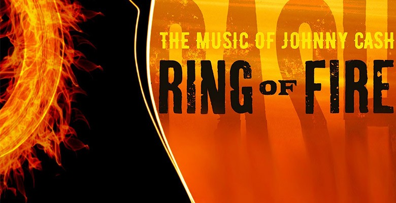 Ring of Fire art image of guitar with flames and an old country road
