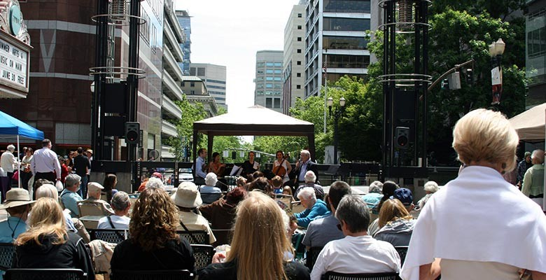 Photo: The crowd at Summer Arts on Main Street enjoying a free Noontime Showcase performance.