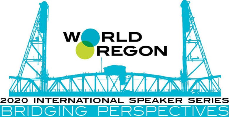 WorldOregon's 2020 International Speaker Series: Bridging Perspectives (WorldOregon logo with bridge image)