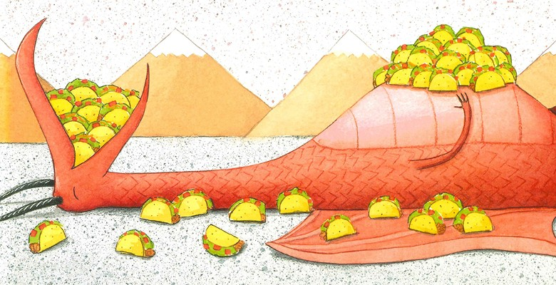 A dragon lying down covered in tacos.