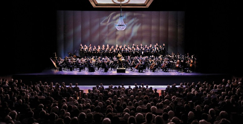 Portland Opera Big Night production photo of stage with performers