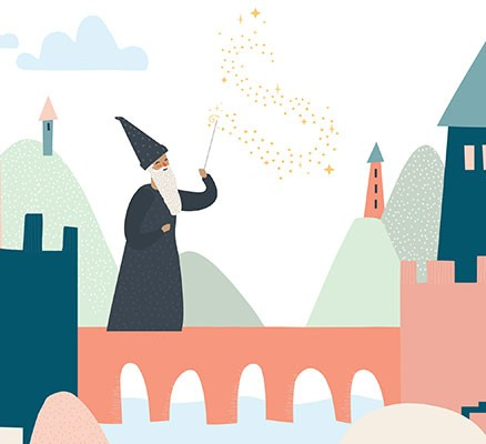Oregon Symphony   Castles and Wizards   Image: Wizard and castle illustration