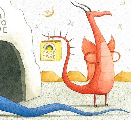 A dragon standing in front of a cave with a bag hanging on its tail that reads: Taco Cave.
