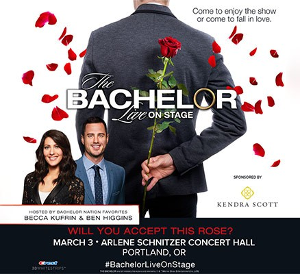 The Bachelor Live on Stage title art with rose and photo of hosts