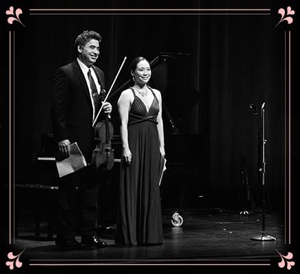 Lovefest Concert image - black & white photo of Kenji Bunch & Monica Ohuchi