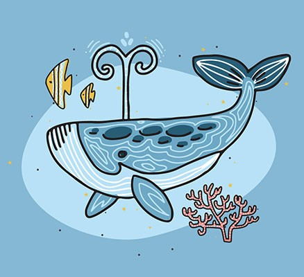 Oregon Symphony | Under the Sea image (illustration of a whale and fish)