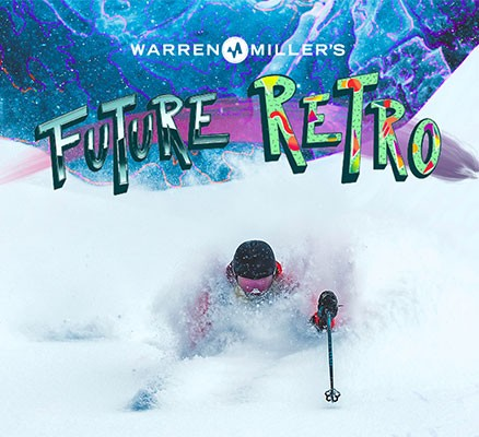 Warren Miller's Future Retro ski photo and logo