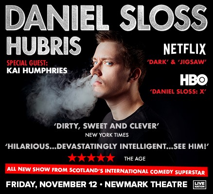 Photo of Daniel Sloss (HUBRiS tour photo of Daniel blowing smoke out of his nose