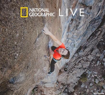 Photo Maureen Beck climbing rock face